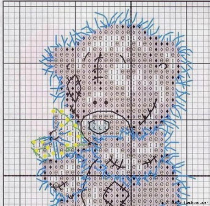 Плюшевый мишка. Схемы вышивки крестиком (6) (683x669, 281Kb)