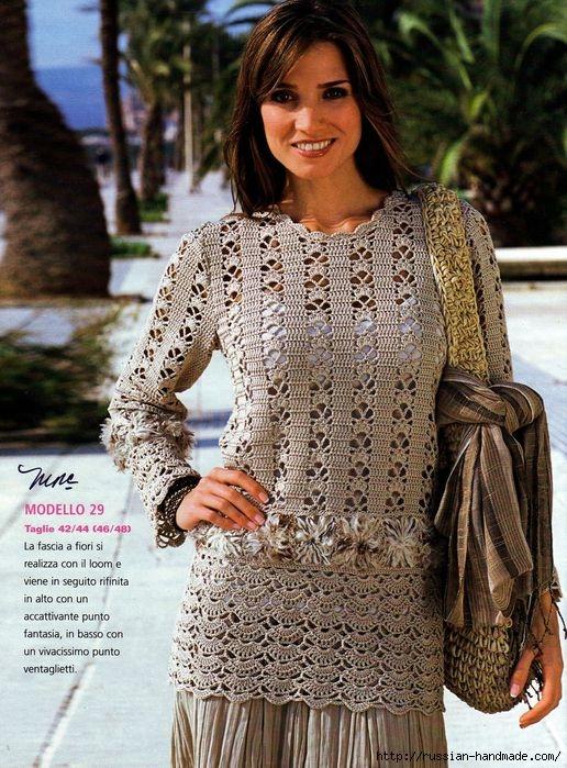 Ажурный пуловер крючком (1) (516x699, 306Kb)