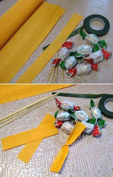Цветы из гофрированной бумаги с конфетами (3) (391x611, 476Kb)