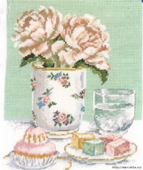 схема вышивки розы и сладости