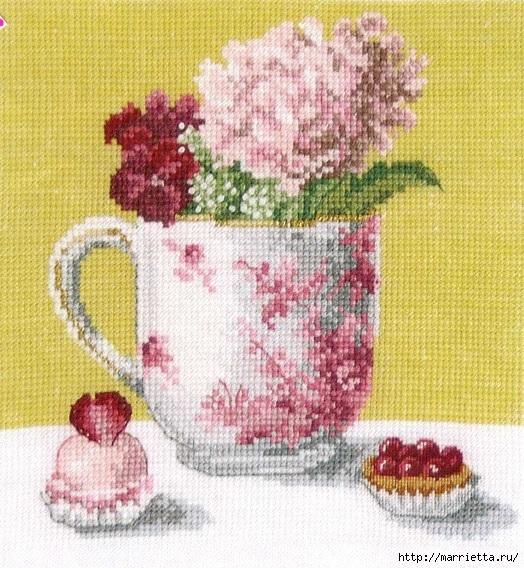 Схемы вышивки Hydrangea and Cupcake (524x568, 291Kb)