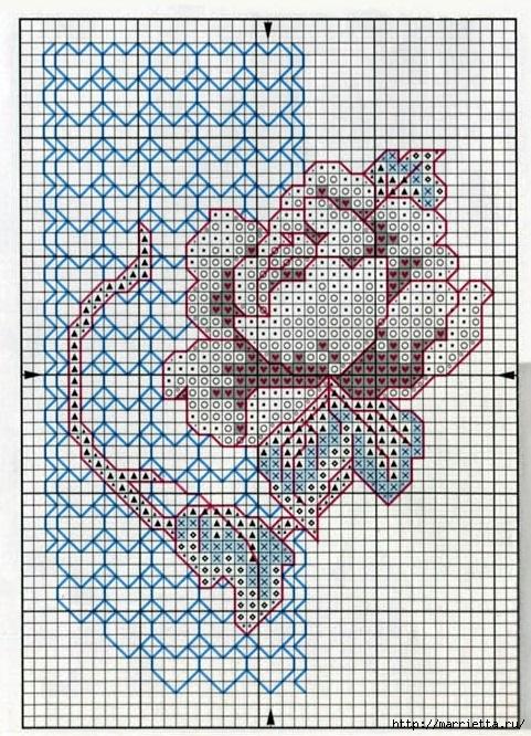 Валентинка с вышивкой розы. Схема (1) (481x666, 350Kb)