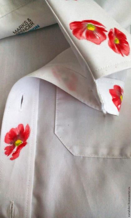 Маки на рубашке. Отличная идея росписи воротника (4) (420x700, 251Kb)