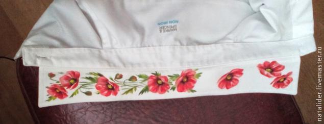 Маки на рубашке. Отличная идея росписи воротника (8) (635x243, 90Kb)