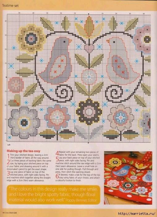 Схема вышивки крестом - Цветы и птицы (1) (508x700, 332Kb)