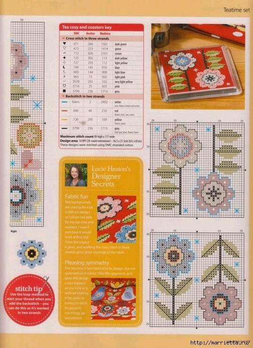 Схема вышивки крестом - Цветы и птицы (3) (508x700, 302Kb)