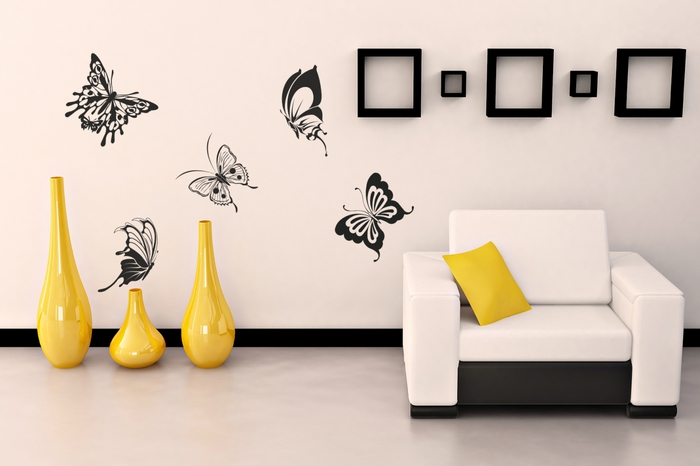 трафареты для стен, эксклюзивный дизайн интерьера, декор стен, оформление стен, рисунки на стенах/3978851_babochki_trafaret (700x466, 144Kb)