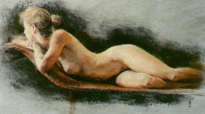 Nude on Ottoman, ПАСТЕЛЬ (700x390, 216Kb)