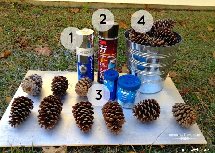 Шишки в блестках для новогоднего декора в интерьере (2) (700x500, 396Kb)
