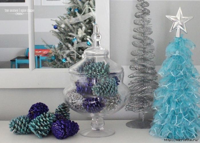 Шишки в блестках для новогоднего декора в интерьере (4) (700x500, 286Kb)