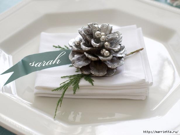 Шишки в блестках для новогоднего декора в интерьере (16) (616x462, 125Kb)