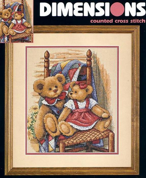 35103 Teddies On Quilt (574x700, 534Kb)