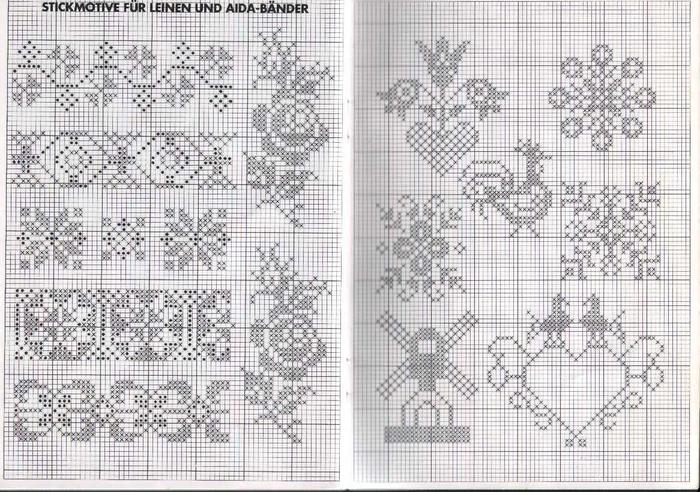 Схемы для вышивки монохром цветы 775