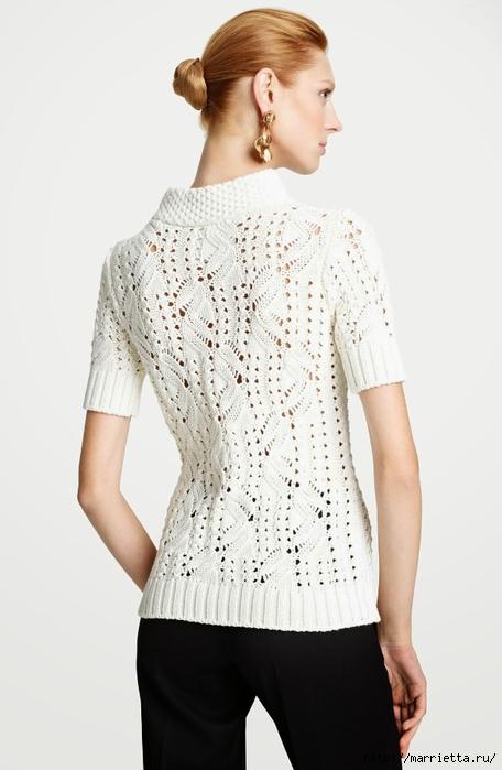 Пуловер спицами фантазийным узором (2) (456x700, 156Kb)