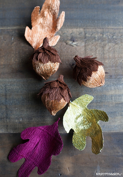 Crepe_Paper_Acorns_Fall_Leaves (490x700, 301Kb)