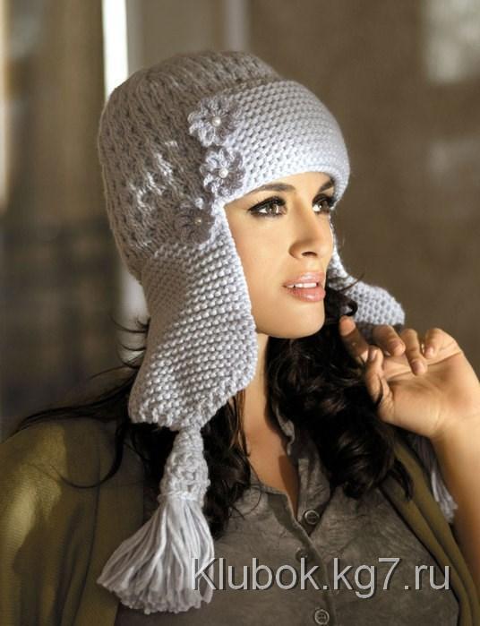 схема вязания шапки ушанки спицами толстой ниткой