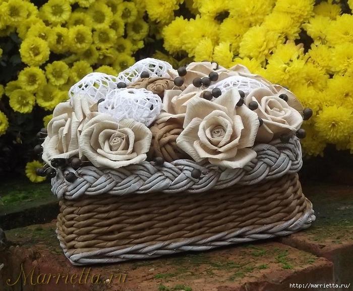 Плетение. Корзинка с розами из бумаги (6) (700x578, 336Kb)