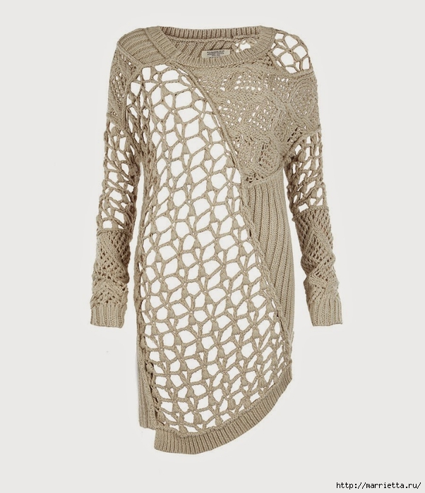 Стильный жакет и платье крючком и спицами (2) (602x700, 213Kb)
