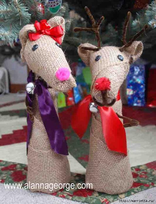 Рождественские олени из мешковины (2) (533x700, 267Kb)