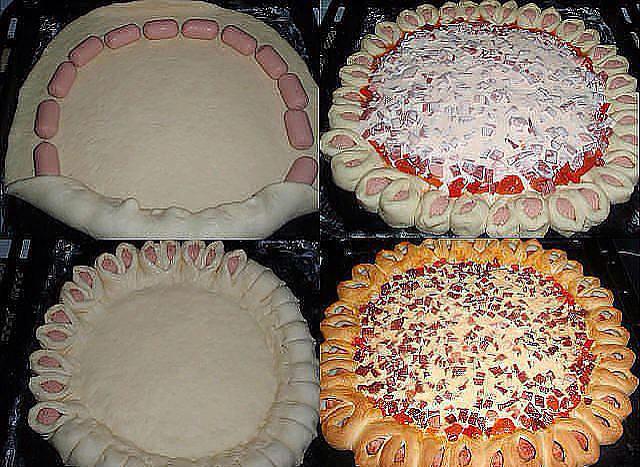 Пирог из сосисок в слоеном тесте с сыром с фото