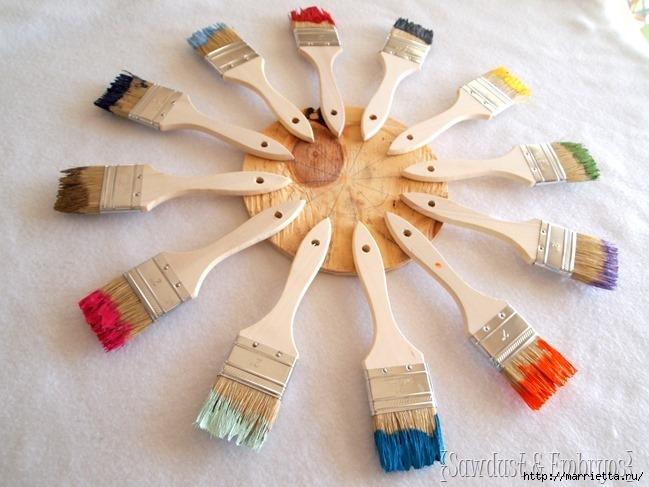 Креативные часы из кисточек и разноцветной краски (13) (649x487, 182Kb)