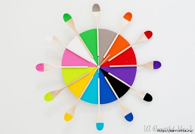 Креативные часы из кисточек и разноцветной краски (15) (650x445, 78Kb)
