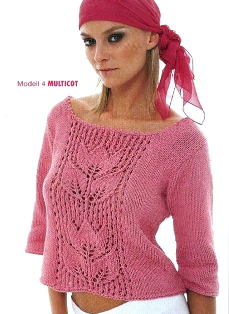пуловер спицами (457x625, 269Kb)