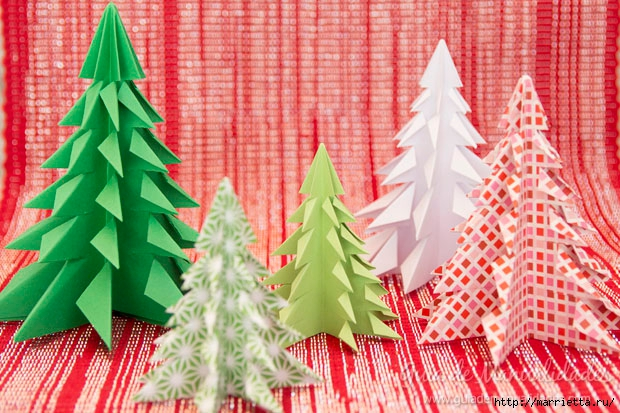 Новогодние елочки из бумаги в технике оригами (1) (620x413, 253Kb)