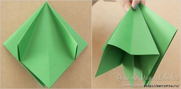 Новогодние елочки из бумаги в технике оригами (5) (620x305, 82Kb)