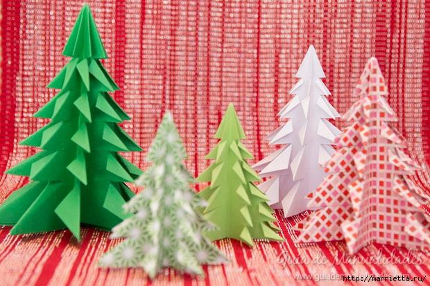 Новогодние елочки из бумаги в технике оригами (11) (620x413, 248Kb)