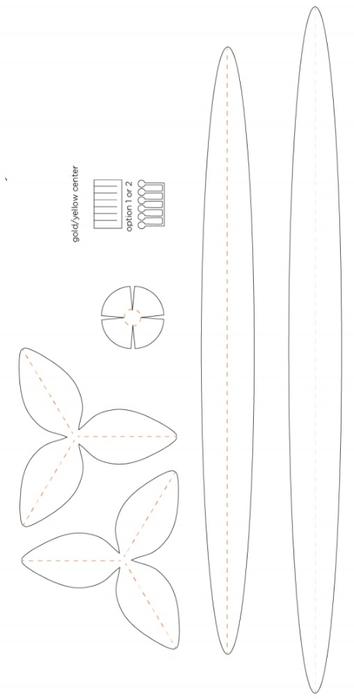 НАРЦИССЫ из бумаги в интерьере. Шаблоны цветов (5) (354x700, 72Kb)