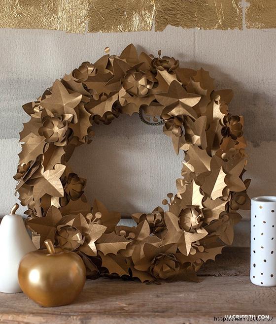 Новогодний античный золотой венок из бумаги (4) (560x658, 342Kb)