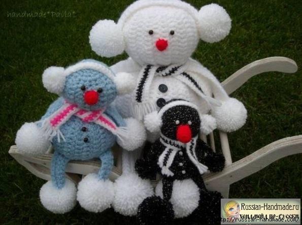 Вязание забавных снеговиков крючком (2) (595x443, 162Kb)