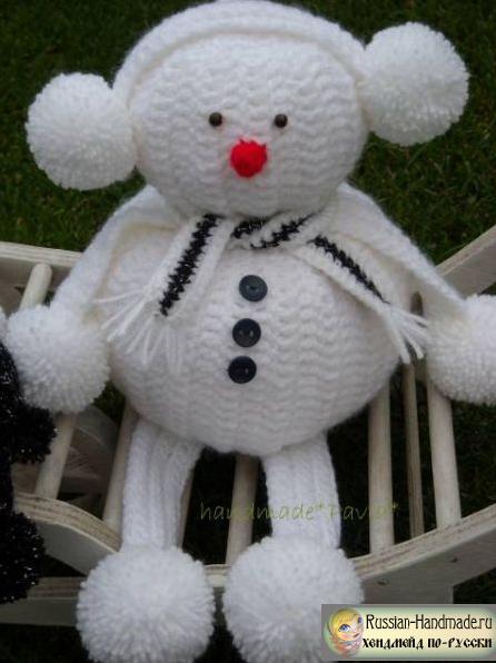 Вязание забавных снеговиков