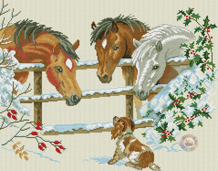 Horses & puppy (700x547, 615Kb)