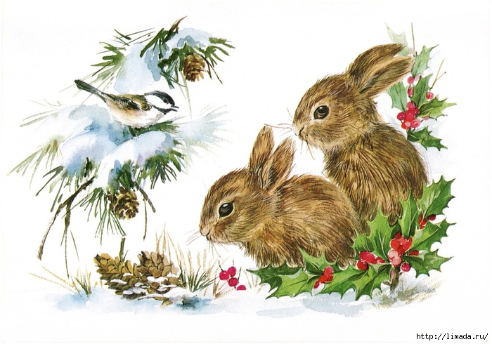 Christmas-Bunnies-Vintage-GraphicsFairy-1024x717 (700x490, 263Kb)