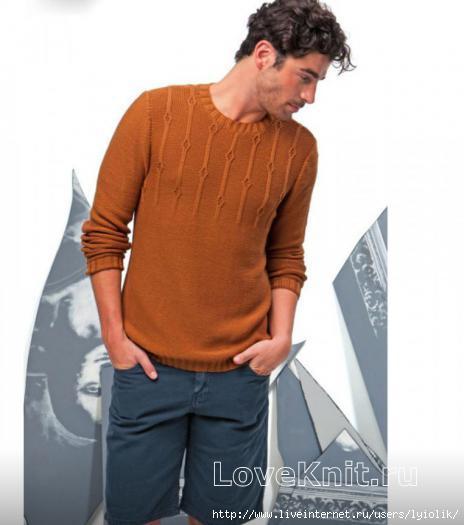 scheme-spicami-muzhskoy-pulover-relefnym-uzorom (464x525, 73Kb)