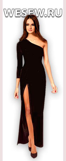 Платье вечернее черное на одно плечо