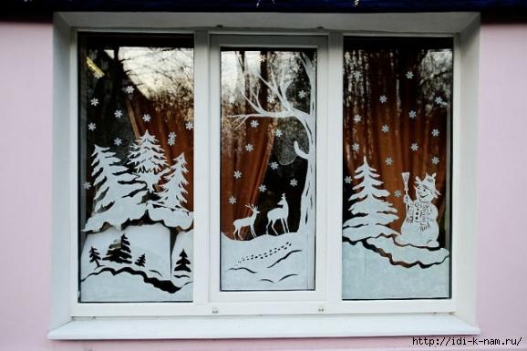 как украсить окна к новому году, как украсить окна к новогодним праздникам, как раскрасить окошки к новому году, что нарисовать на окнах к новому году, новогодние силуэты для украшения окон, украшаем окна на новый год Хьюго Пьюго,