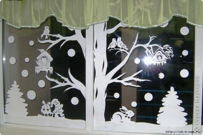 Как украсить окно к новому году своими