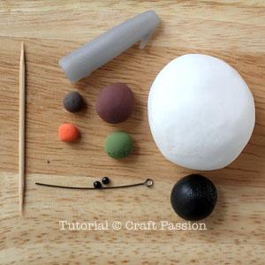 Веселый снеговик. Брелок для ключей из полимерной глины (2) (300x300, 64Kb)