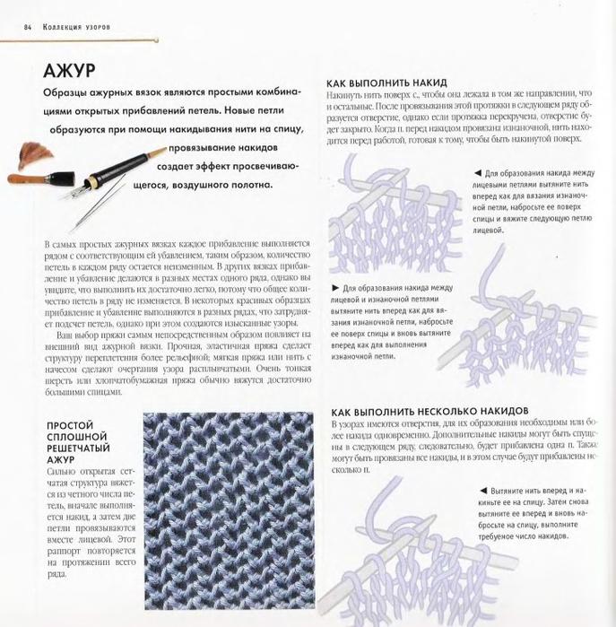 Узоры вязание спицами с накидом 15