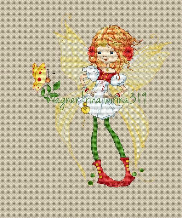 Девочка-фея схема для вышивки