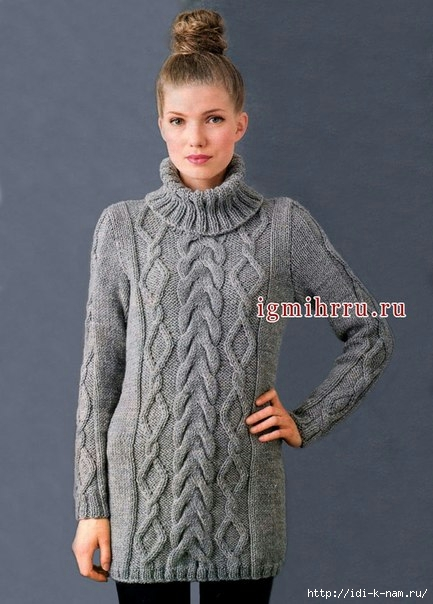 как связать свиетер с объемными аранами, схема вязания свитера с объемными аранами, как связать теплый свитер Хьюго Пьюго,