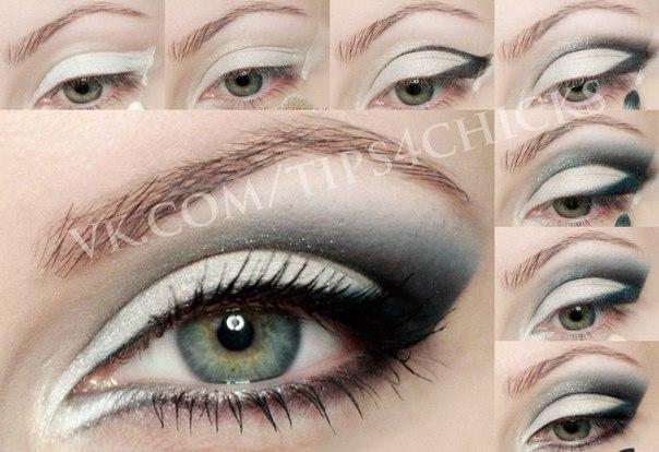 Фото макияжа глаз с белым карандашом для глаз