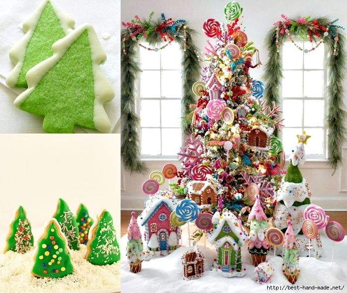 cheap Christmas trees - use Christmas food, Holiday Trees Cookies (700x592, 371Kb)