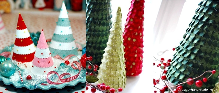 christmas decoration ideas - fabric ruffled Christmas trees, Felt christmas tree (700x297, 192Kb)