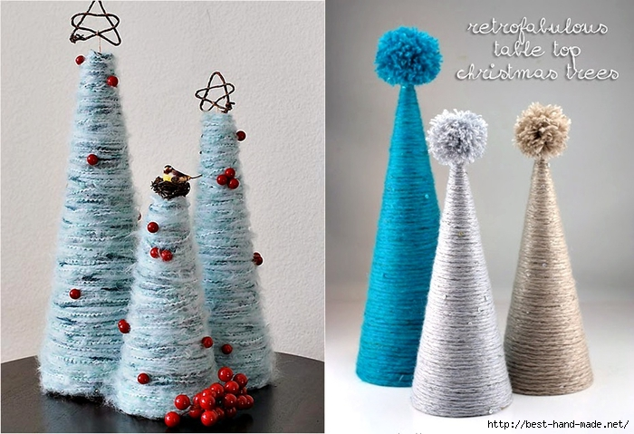 Christmas tree store - Christmas craft, Yarn Wrapped Tabletop Christmas Trees (700x479, 256Kb)