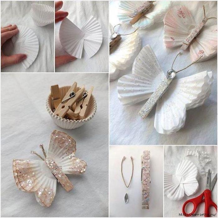 Бабочки из прищепок и бумажных стаканчиков для кексов (5) (700x700, 309Kb)