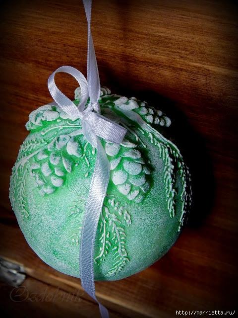 Елочные шары своими руками из пенопластовых шаров 28